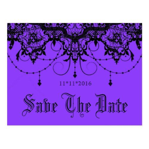 Gothic Save the Date Cards Victorian Lace Purple Save The Date Postcard