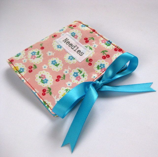 Handmade Sewing Needle Case with Cute Pink Cherry and Flowers Print £6.00