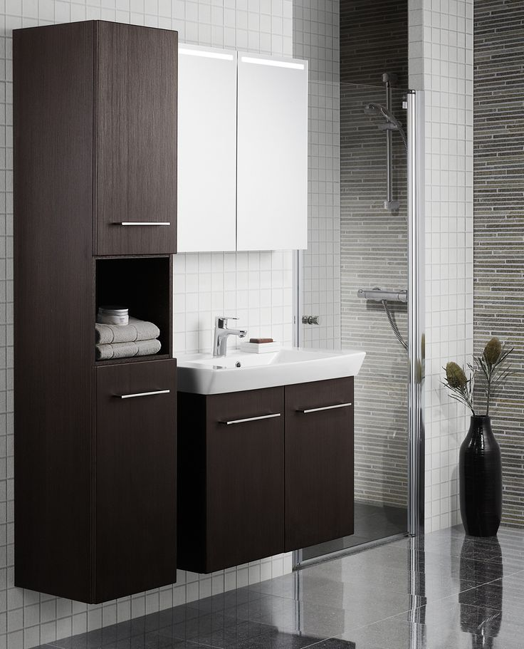 Prioritise the space next to the washbasin for a spacious tall cabinet, if you need more storage space.