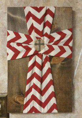 Chevron Fabric Cross on Wood home decor.