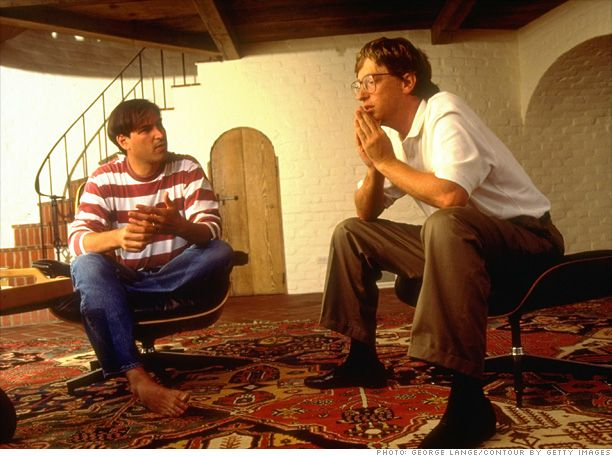 Steve Jobs (1955-2011) and Bill Gates together in 1991
