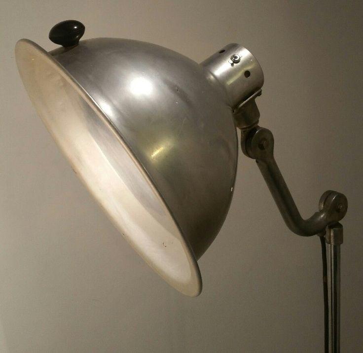 1940s vintage studio theater reflector photography floor light lamp, aluminum