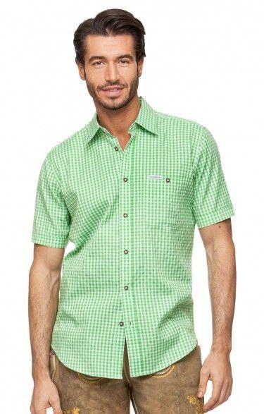 Chequered short sleeve shirt for men Renko2 pistachio