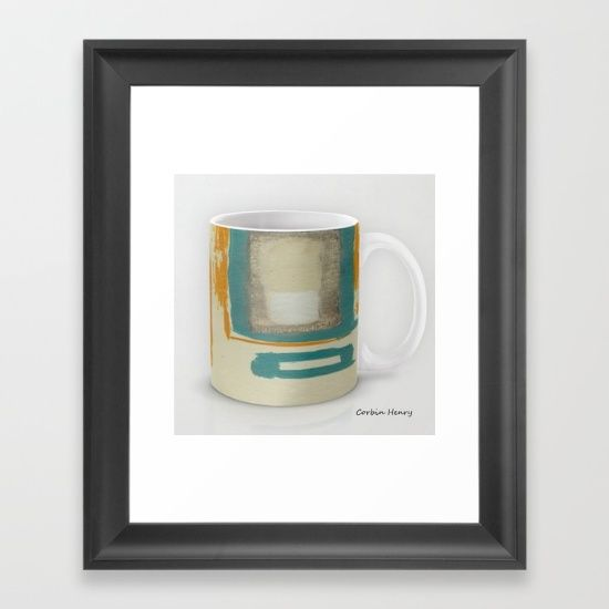 Soft And Bold Rothko Inspired Mug Large, FRAMED ART PRINT for your kitchen, dining room, restaurant, coffee shop or office break room!  Small Framed Print Sets. Contemporary Prints and Posters. Framed Prints and Posters.