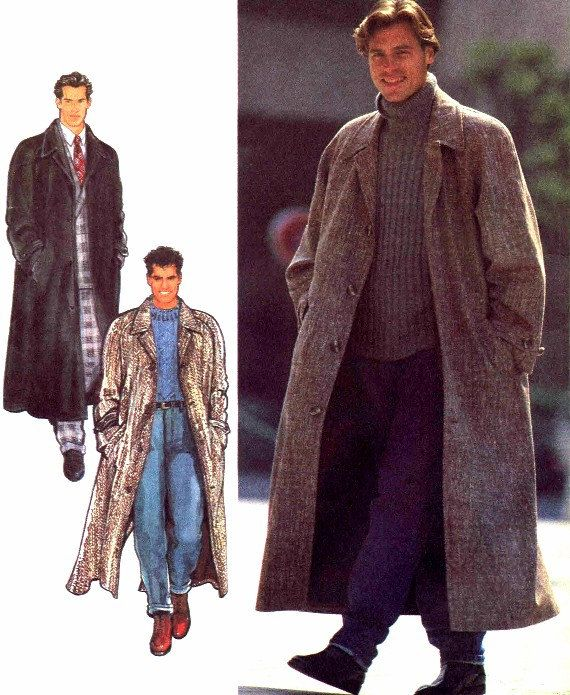 Mens Long Coat 1990s Style 2387 Sewing Pattern by patternshop, $17.99