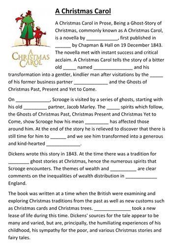 A Christmas Carol cloze activity  Christmas carol