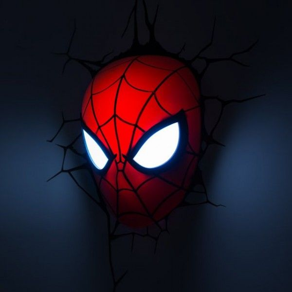 Spider-Man Mask LED Light / A Marvel-ous way to brighten your day and night, this Spider-Man Mask Deco Light makes use of LED bulbs that ensure the light stays cool and lasts much longer. http://thegadgetflow.com/portfolio/spider-man-mask-led-light/