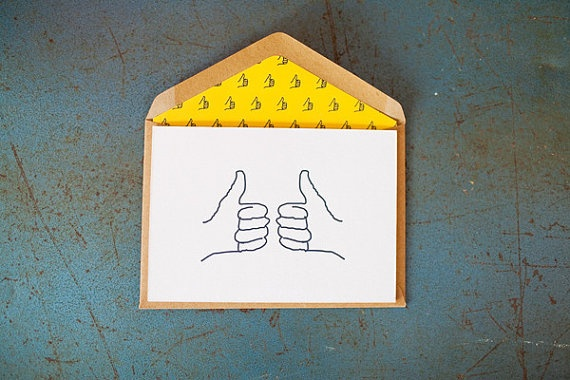 Thumbs Up {Letterpress Greeting Card} by LittlePeachCo on Etsy, $5.00