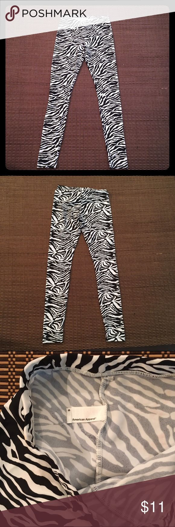 American Apparel Zebra Stripe Leggings Sweet zebra print leggings by American Apparel. Never really worn, not exactly my style. Great condition. Been living in my closet. American Apparel Pants Leggings