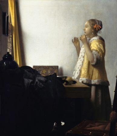 Jan Vermeer Donna con collana di perle 1664 55 cm x 45 cm Colore ad olio Gemäldegalerie
