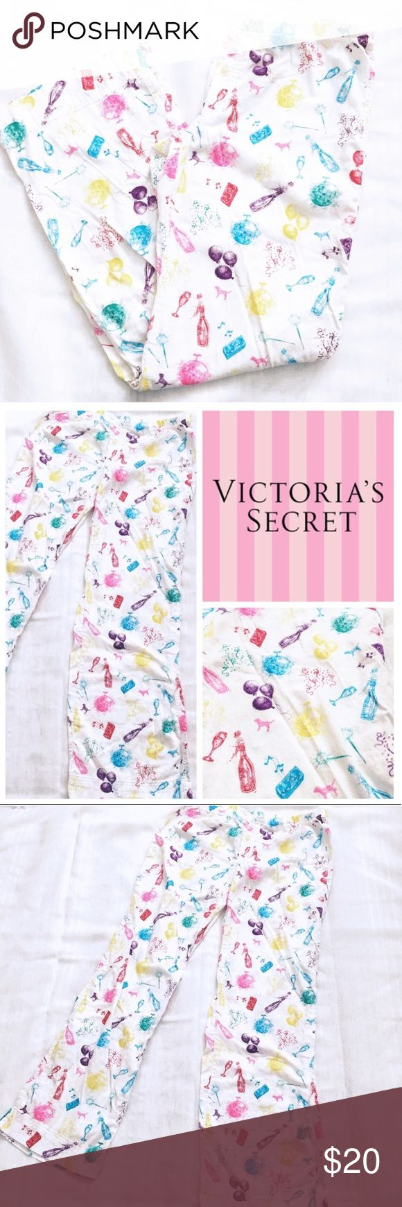 VS PINK Pajama Pants Sz S Victoria's Secret PINK pajama pants. Size small. White background with bright colored NYE festive images (balloons, champagne, sparklers, confetti). EUC. Full length pants. 100% cotton PINK Victoria's Secret Intimates & Sleepwear Pajamas