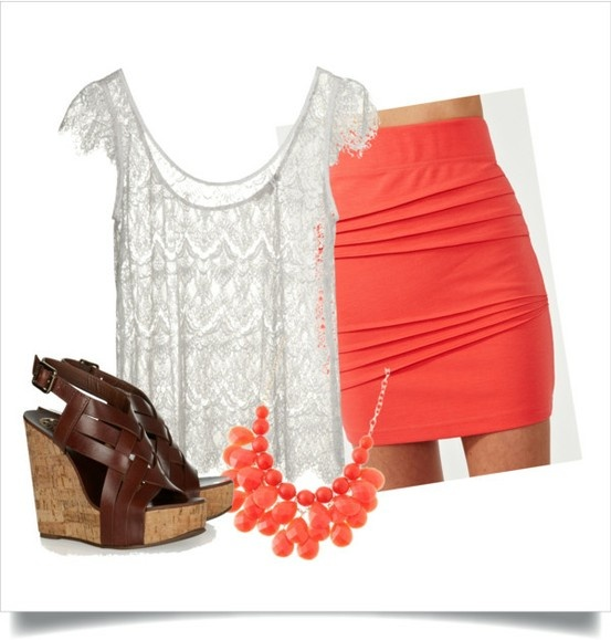 :): Spring Summ Style, Dreams Closet, Coral Skirt, Skirts Outfits, Summer Outfits, Beautiful Outfits, Clothing Fashion, Spring Outfits, Coral Color
