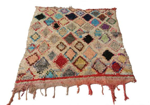 "75""X60"" Vintage Moroccan rug woven using different scraps of used textiles / boucherouite / boucherouette"