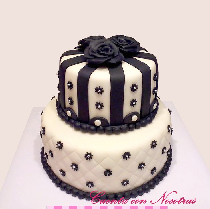 Torta rosas negras Torta blanco y negro Torta adolescente Black and white cake