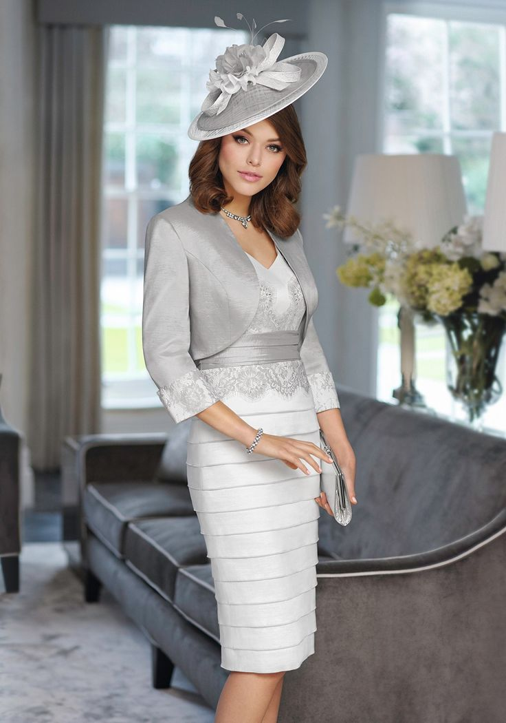 Inspirato Occasion Lace Embellished Dress and Jacket, Grey