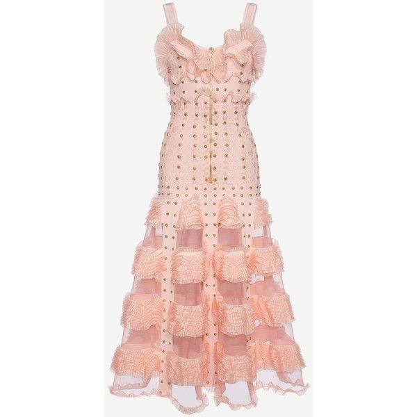 alexander mcqueen ruffled dress ❤ liked on Polyvore featuring dresses, ruffle trim dress, frilly dresses, pink ruffle dress, frill dress and flounce dress