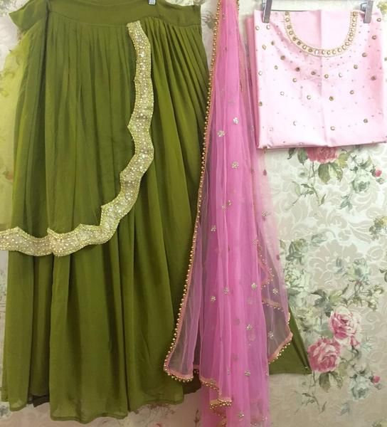Olive Green And Pink Lehenga Online Shopping