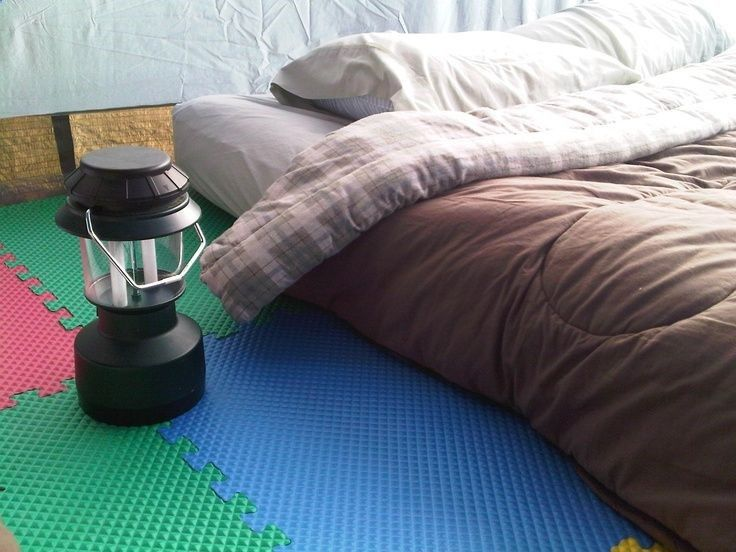 Tent Camping with Foam Floor Tiles.... NEVER THOUGHT OF THIS. GREAT IDEA!