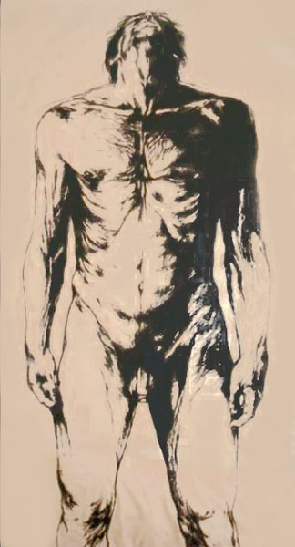 Artist: Luis Caballero, Colombian (1943 - 1995)  Title: Untitled - Male Nude  Year: 1984  Medium: Lithograph, signed and numbered in pencil  Edition: 406/500  Size: 77.75 in. x 37 in. (197.49 cm x 93.98 cm)