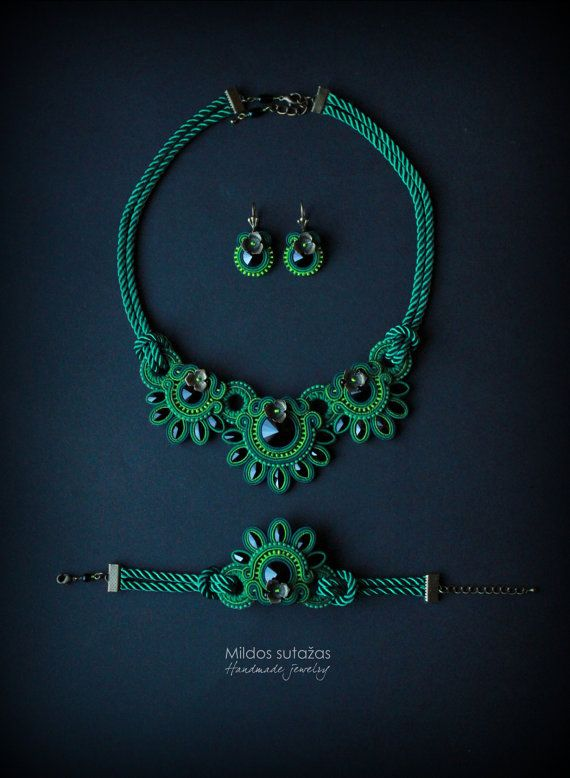 Hey, I found this really awesome Etsy listing at https://www.etsy.com/uk/listing/225854238/green-handmade-soutache-set-necklace