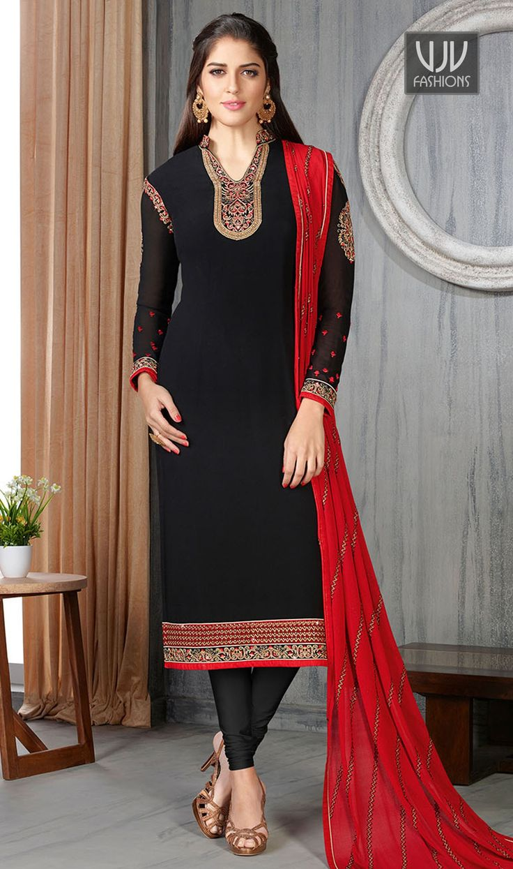 Amazing Black Color Georgette Designer Salwar Suit  Be the sunshine of anyone's eyes dressed in such a wonderful black color georgette designer salwar suit. The enticing embroidered and resham work a vital characteristic of this attire