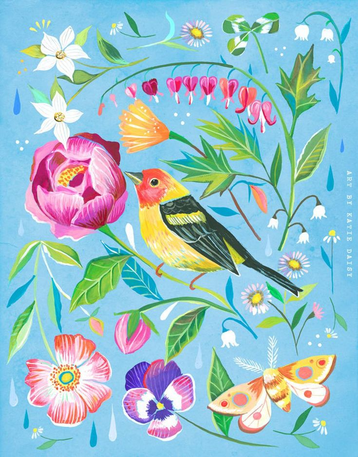 Western Tanager art print | Floral Artwork | Bird Painting | Katie Daisy | 8×10 | 11×14