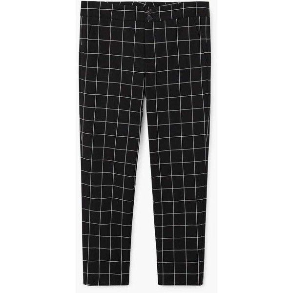 MANGO Check cotton trousers (2.265 RUB) ❤ liked on Polyvore featuring pants, mango trousers, button pants, zip pants, mango pants and checked pants