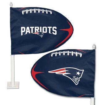 New England Patriots WinCraft Football Shaped Car Flag