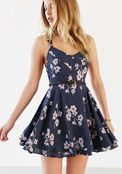 dress floral dress summer dress spaghetti strap belt cute dress skater dress flowers