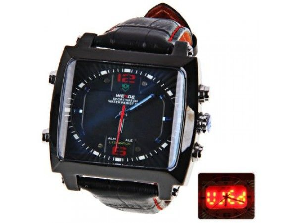 Mens LED Watch with Double Movement Square Dial, Leather Band