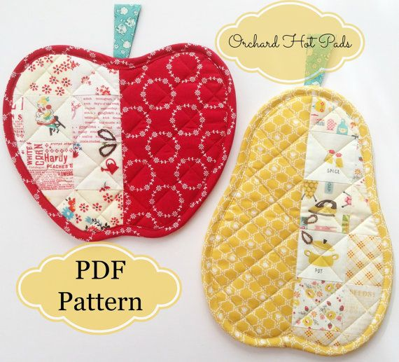 Orchard Hot Pads  Apple & Pear     PDF Pattern by ChariseCreates