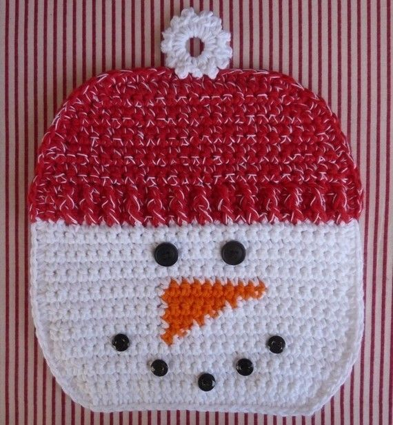 Snowman Potholder Crochet PATTERN INSTANT DOWNLOAD