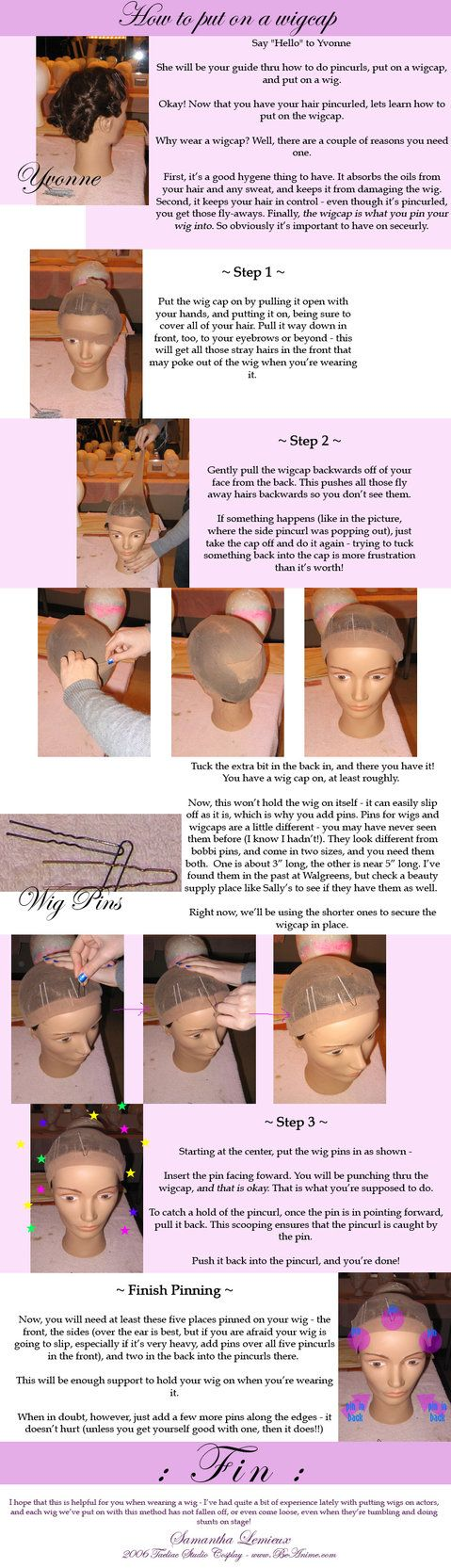 Tutorial: How to put on wigcap by taeliac on DeviantArt