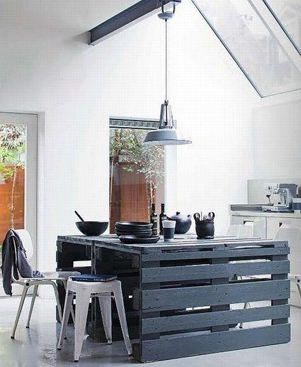 Isla de cocina con palets de madera