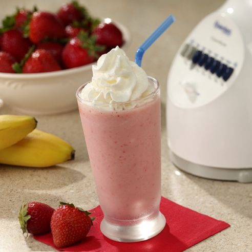 Strawberry Banana Smoothie 1/2 cup chopped fresh strawberries  •1/4 medium banana, peeled and halved  •1/4 cup vanilla nonfat yogurt with low-calorie sweetner  •1/2 cup crushed ice  • Reddi-wip® Original Dairy Whipped Topping  Nutrition Information 84 Calories  1g Total Fat