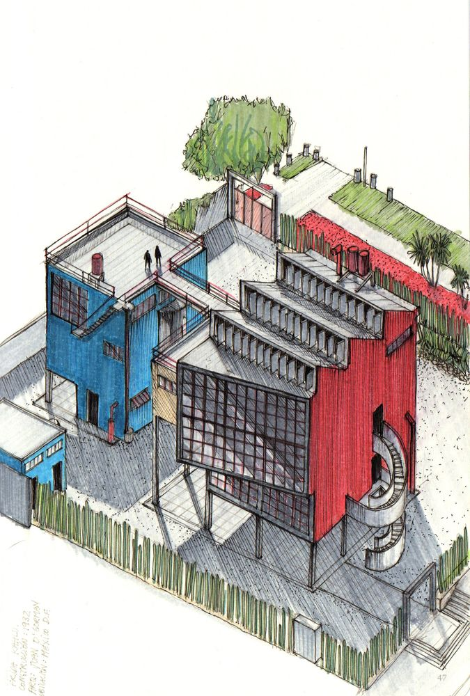 20 Beautiful Axonometric Drawings of Iconic Buildings,Museum and Study House Diego Rivera y Frida Kahlo / Juan O´Gorman / 1931 . Image Courtesy of Diego Inzunza - Estudio Rosamente