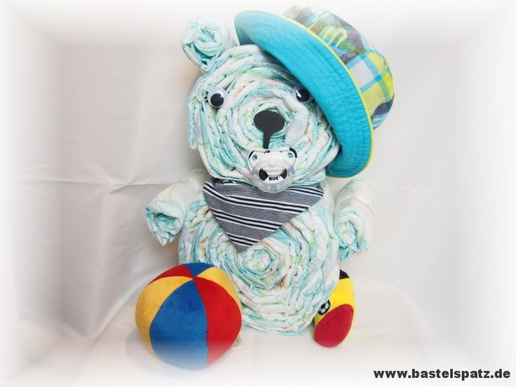 Windelbär Fußball, Diaper Cake, Baby Shower, Babyshower, Windeltorte, Windelfigur, Windeltier, Geburtsgeschenk, Diaper Animal Bear