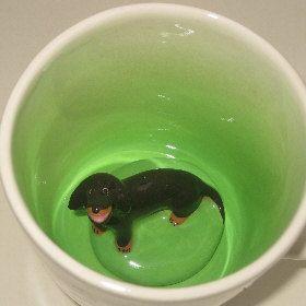 Black Dachshund Surprise Mug by SpademanPottery on Etsy, $30.00