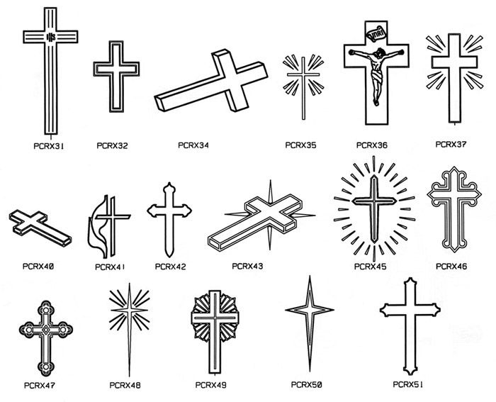 Engraved cross designs on stone memorials