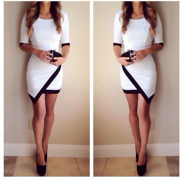Vestido corto y blanco con un poco de negro