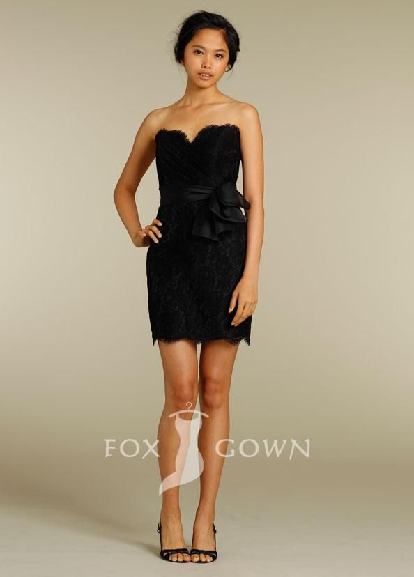 black lace sheath short bridesmaid dress with strapless sweetheart neckline