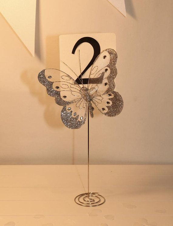 Butterfly Wedding Table number stand holder by Aphroditebridal, £3.49