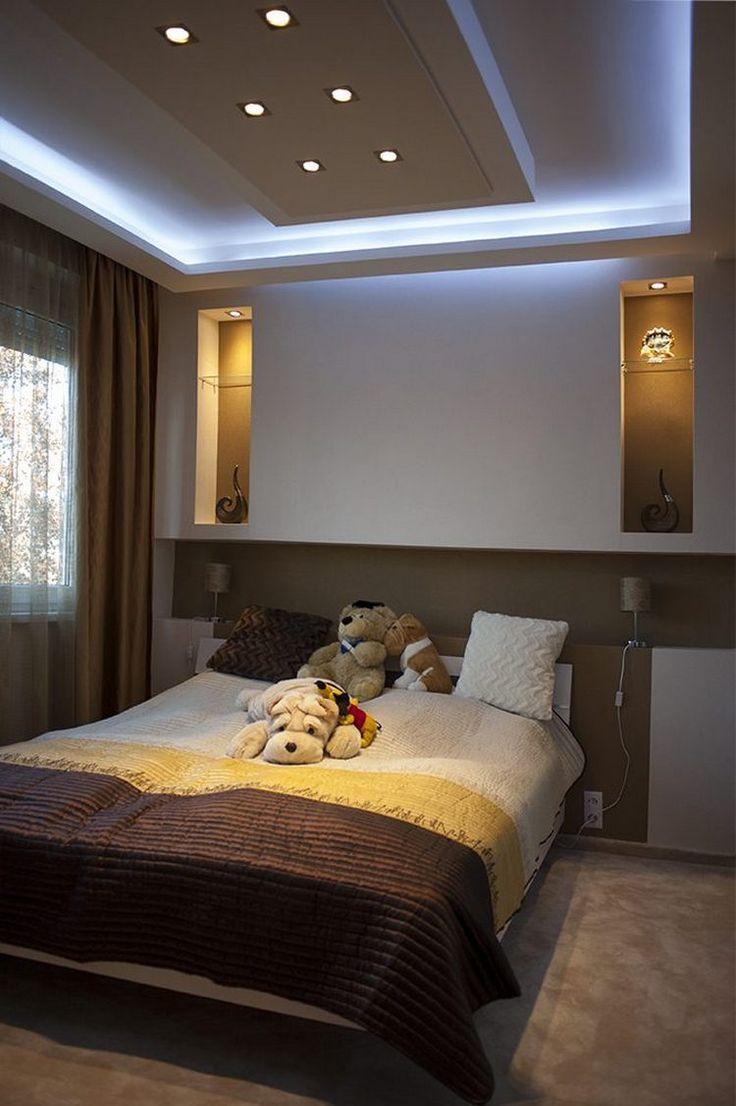 красивые потолки из гипсокартона фото для спальни должна стать мягкой