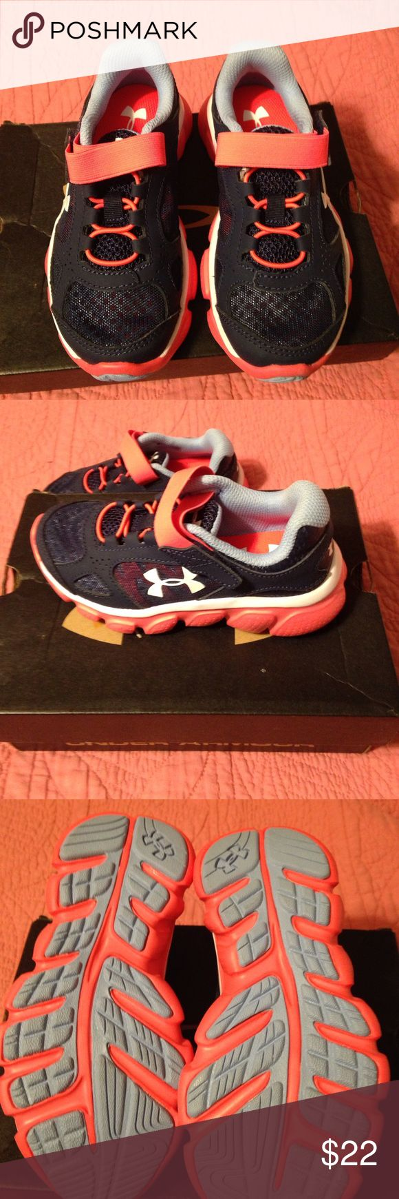 Under Armour Tennis Shoes Under Armour navy/pink tennis shoes with Velcro close. Never worn! Under Armour Shoes Sneakers
