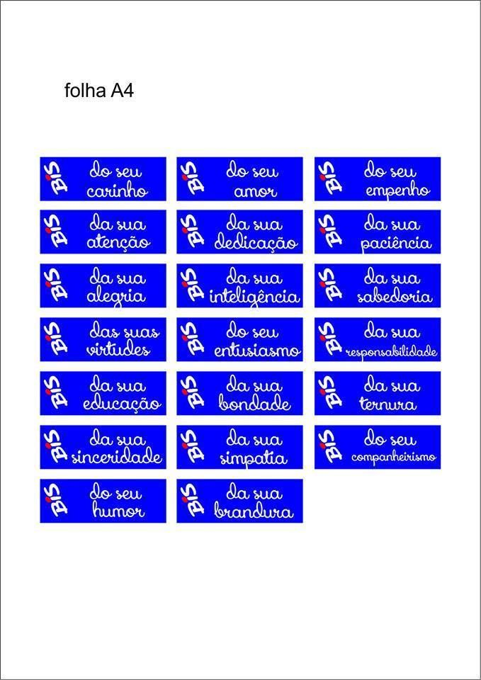 Rótulo Bis Folha A4 - Pronta para imprimir