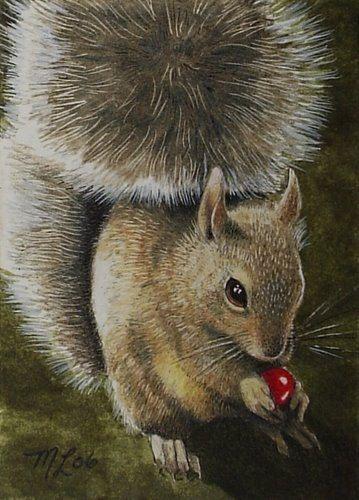 Ardilla y Berry arte en miniatura por la melodía Lea cordero ACEO impresión