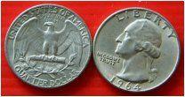 США квотер 25 центов 1964 монетный двор P Рузвельт СЕРЕБРО