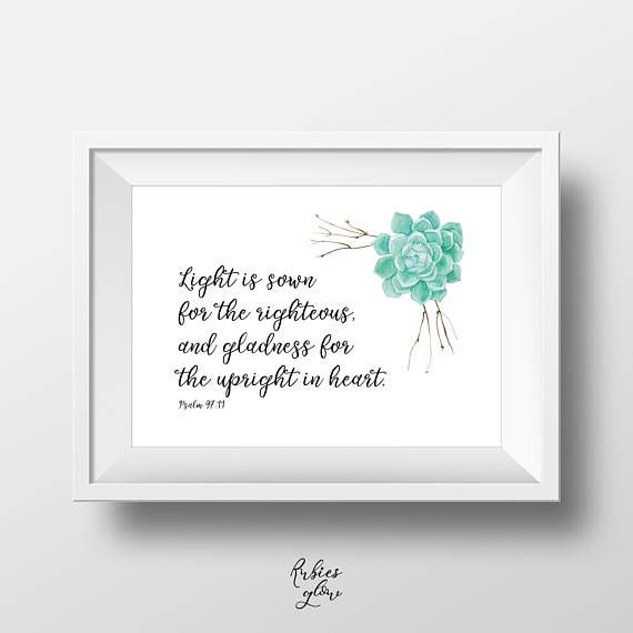Psalm 97:11 Light is sown - Bible quote verse - Bible decor - Rustic Succulents Retro - Printable Wall Art - Instant download - Digital Art