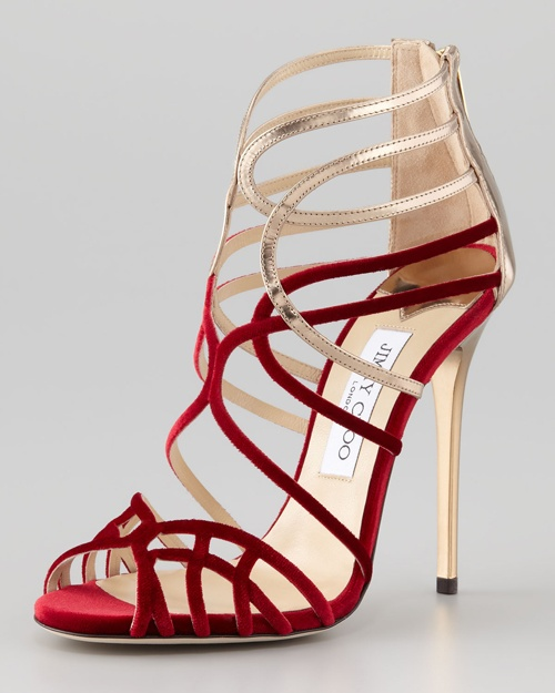 Jimmy Choo Red Velvet Strappy Sandals----All Red Shoes Are Beautifull