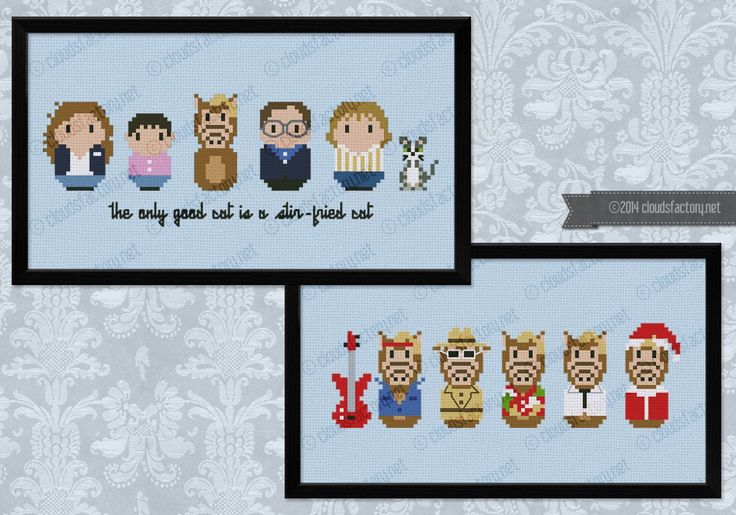 Oh, the 80s TV series! Alf was one of my favorites! This is a special cross stitch pattern that includes two different patterns: the first one features Lynn, Brian, Alf, Willie and Kate Tanner and Lucky the cat! The second one features Alf in some of his